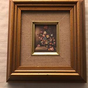 Vintage Mini Framed  Wall Art Picture Floral Vase
